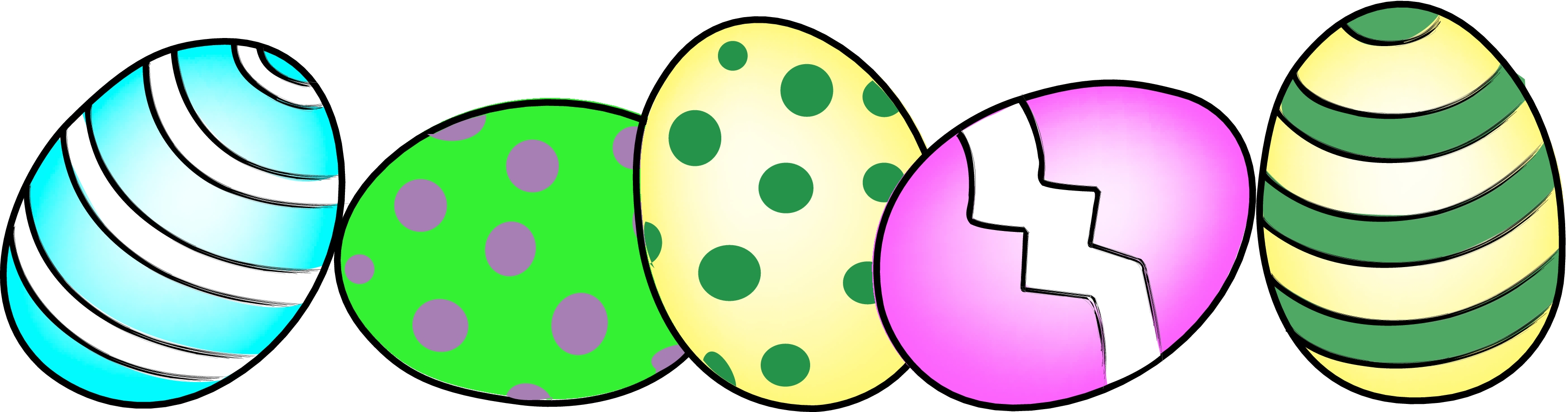 3300x867 Three Easter Eggs In Grass Free Clip Art