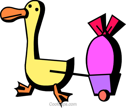 480x411 Duck Pulling An Easter Egg In A Wagon Royalty Free Vector Clip Art