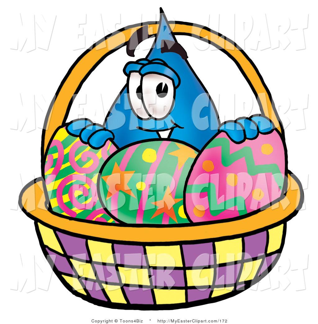 1024x1044 Clip Art Of A Water Drop Mascot Cartoon Character Behind An Easter