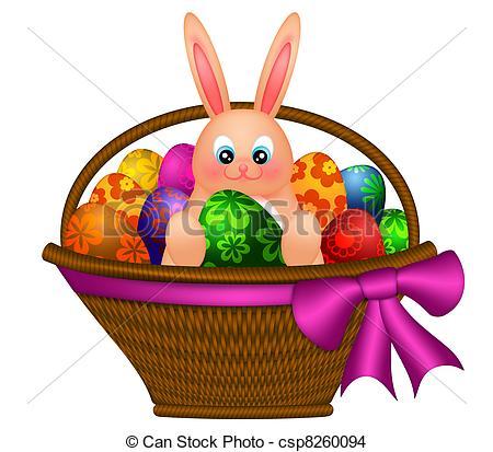 450x413 Happy Easter Bunny Rabbit In Egg Basket Illustration. Happy