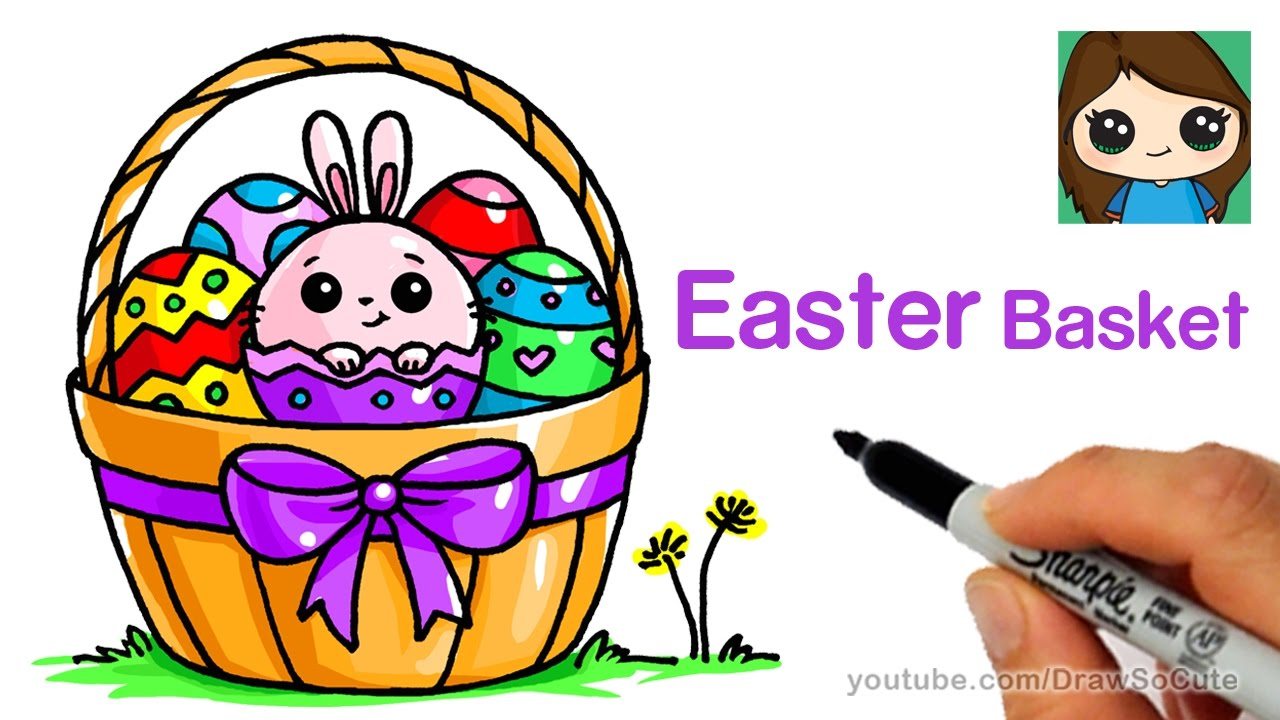 1280x720 How To Draw A Easter Basket Easy