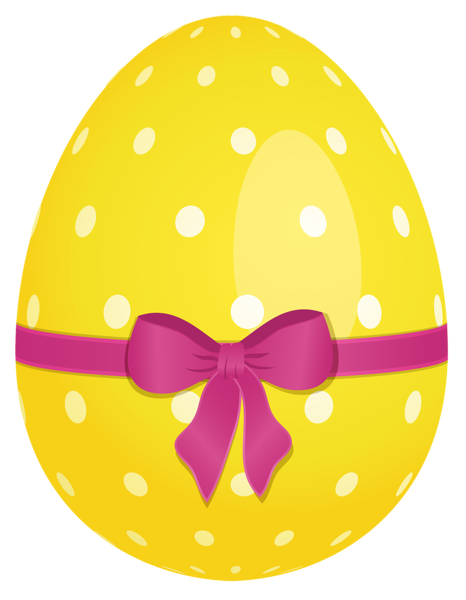 466x600 Yellow Dotted Easter Egg With Pink Bow Png Clipart Easter Clip
