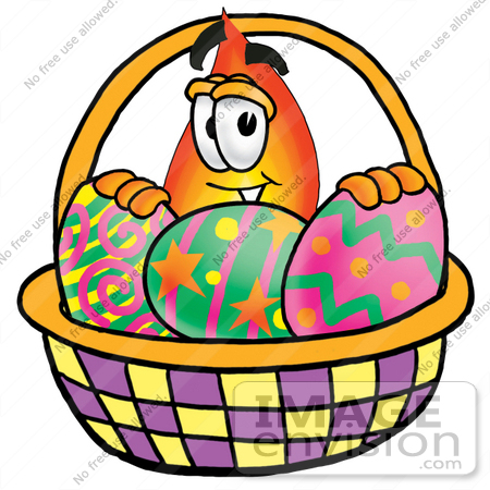 450x450 Clip Art Graphic Of A Fire Cartoon Character In An Easter Basket
