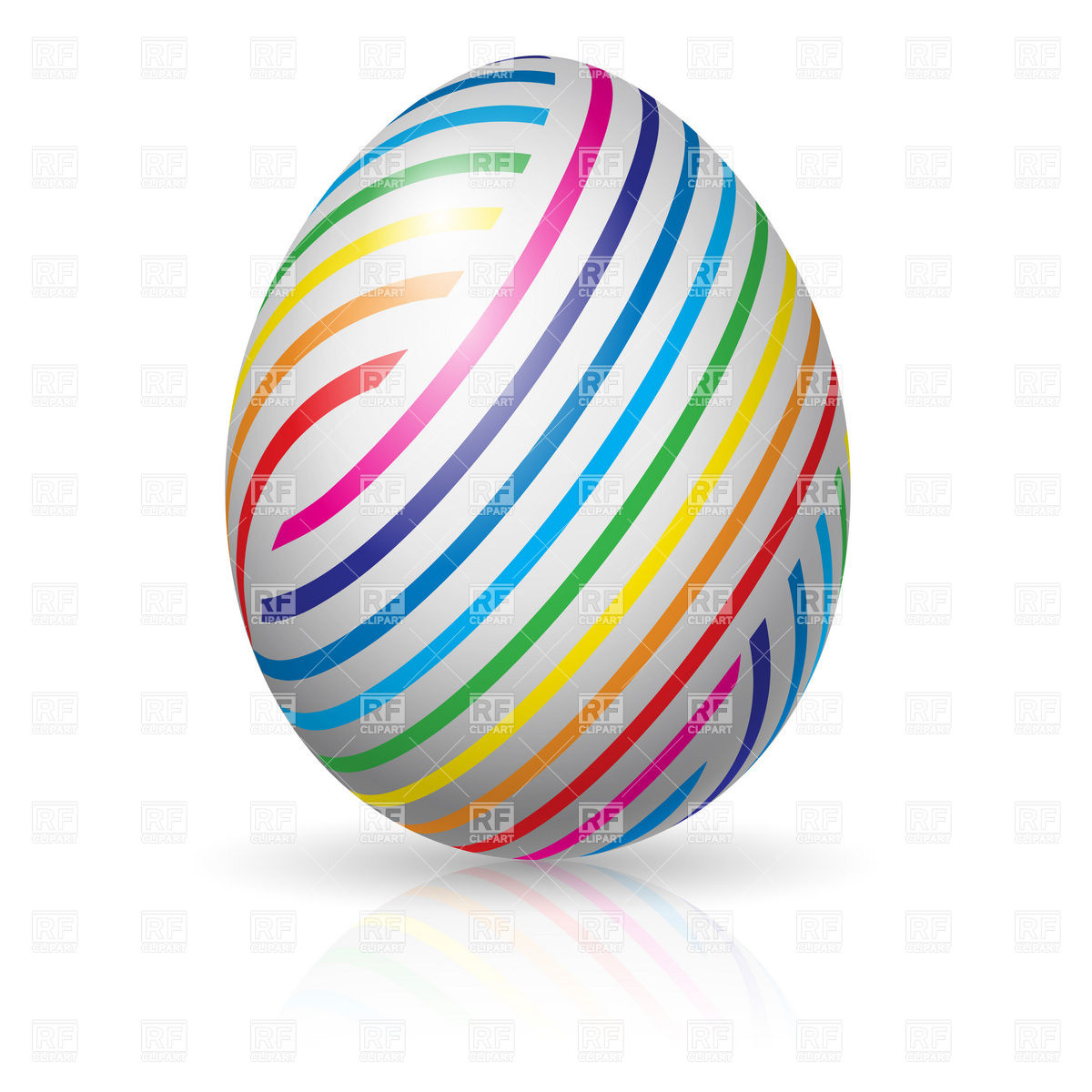 1200x1200 Easter Egg With Colorful Stripes Royalty Free Vector Clip Art