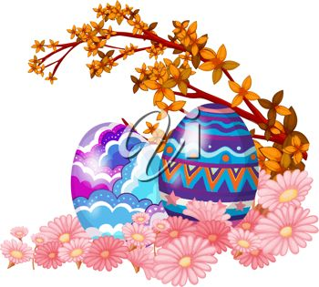 350x315 Clip Art Illustration Of Easter Eggs And Spring Flowers