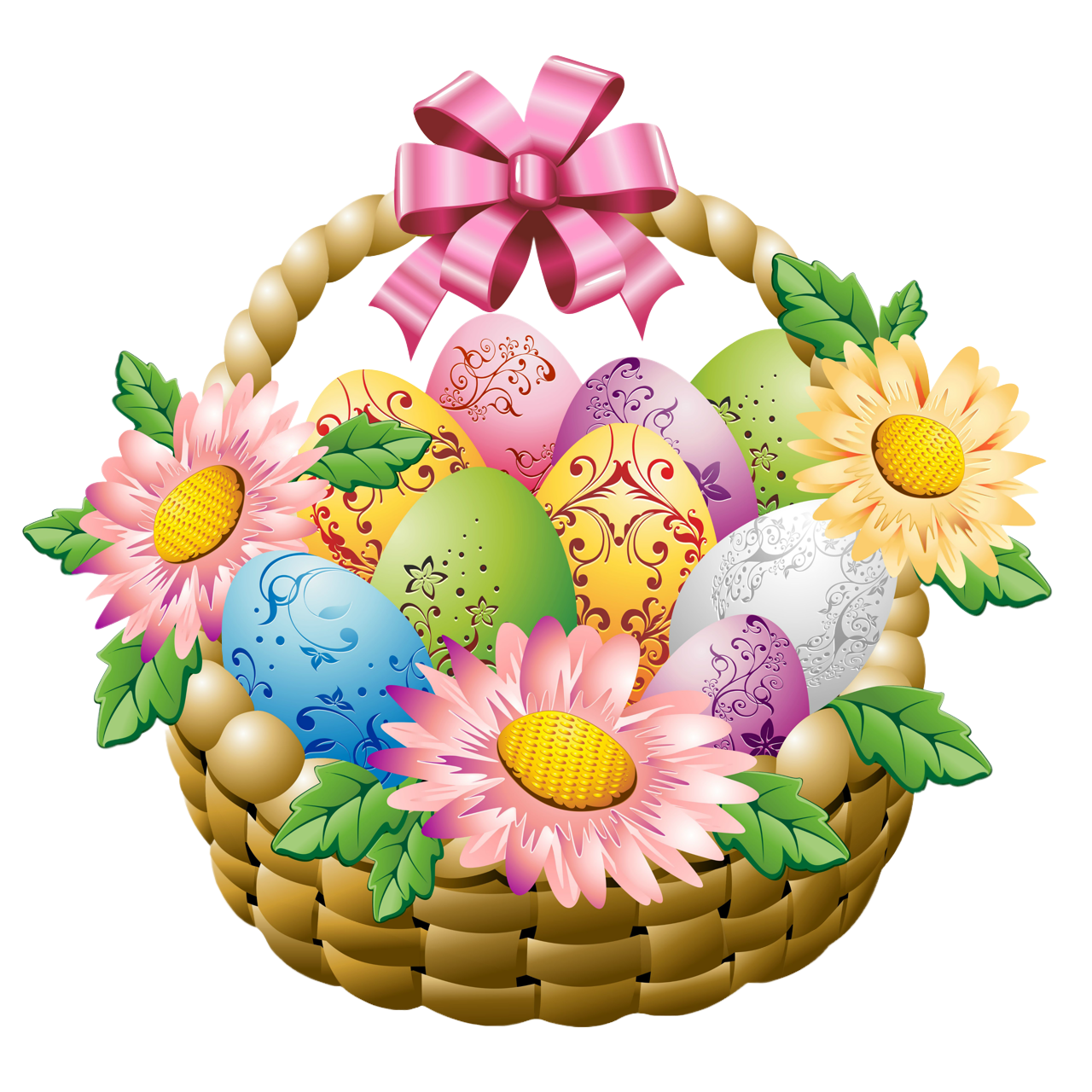 1280x1280 Easter Basket With Easter Eggs And Flowers Png Pictureu200b Gallery