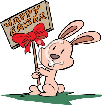 340x350 Little Pink Bunny Holding A Wooden Sign For Happy Easter
