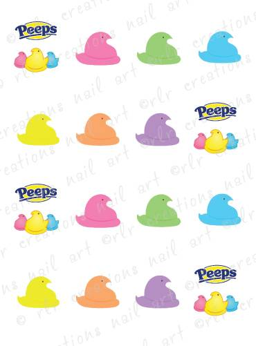 370x501 20 Nail Decals Easter Marshmallow Classic Peeps Water Slide