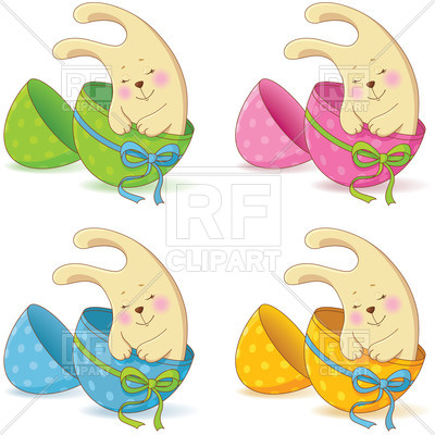 400x400 Cute Easter Baby Bunny In The Half Of An Egg Royalty Free Vector
