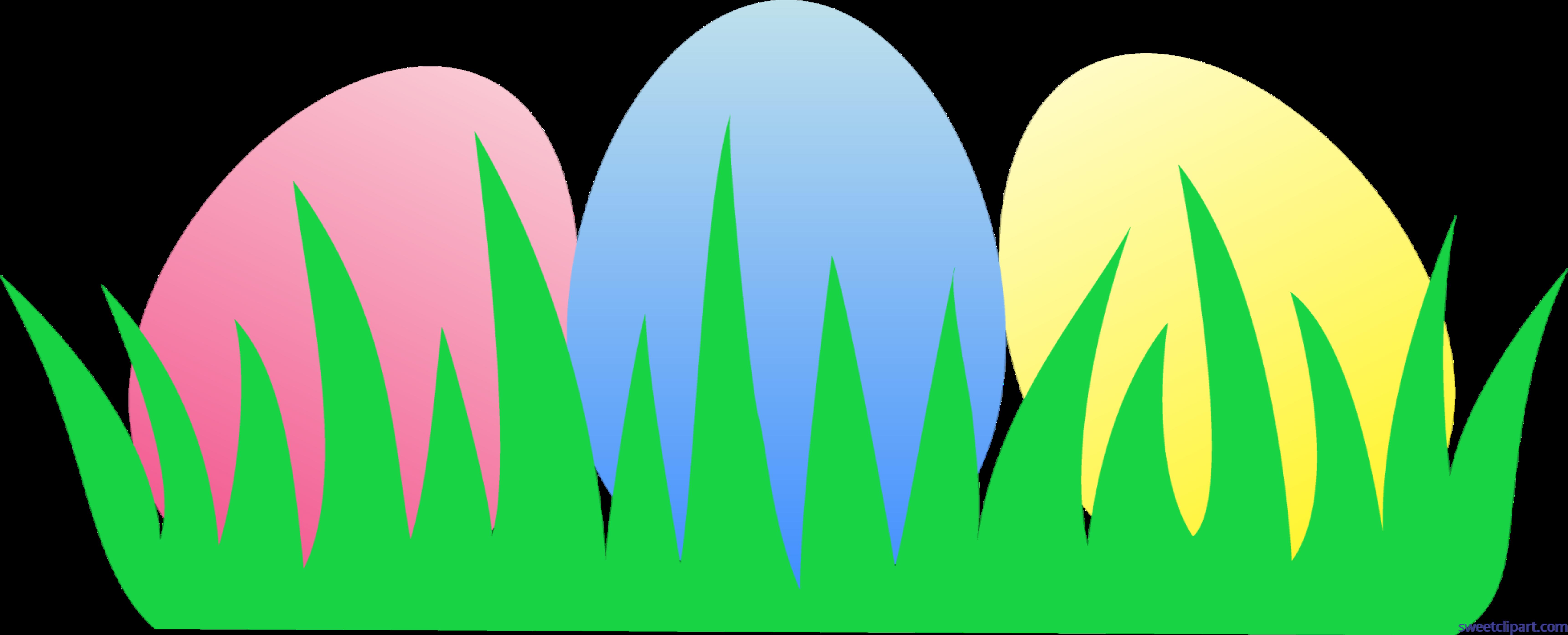 6883x2789 Easter Eggs Grass Clip Art