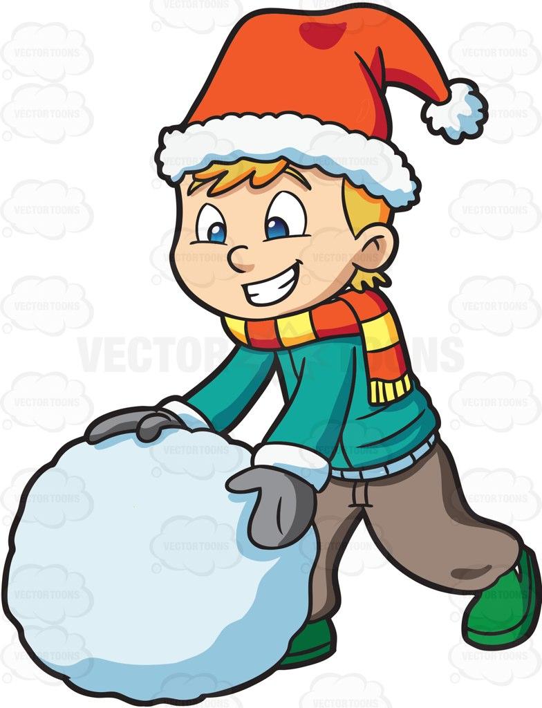 784x1024 A Boy Making A Big Snowball Cartoon Clipart Vector Toons
