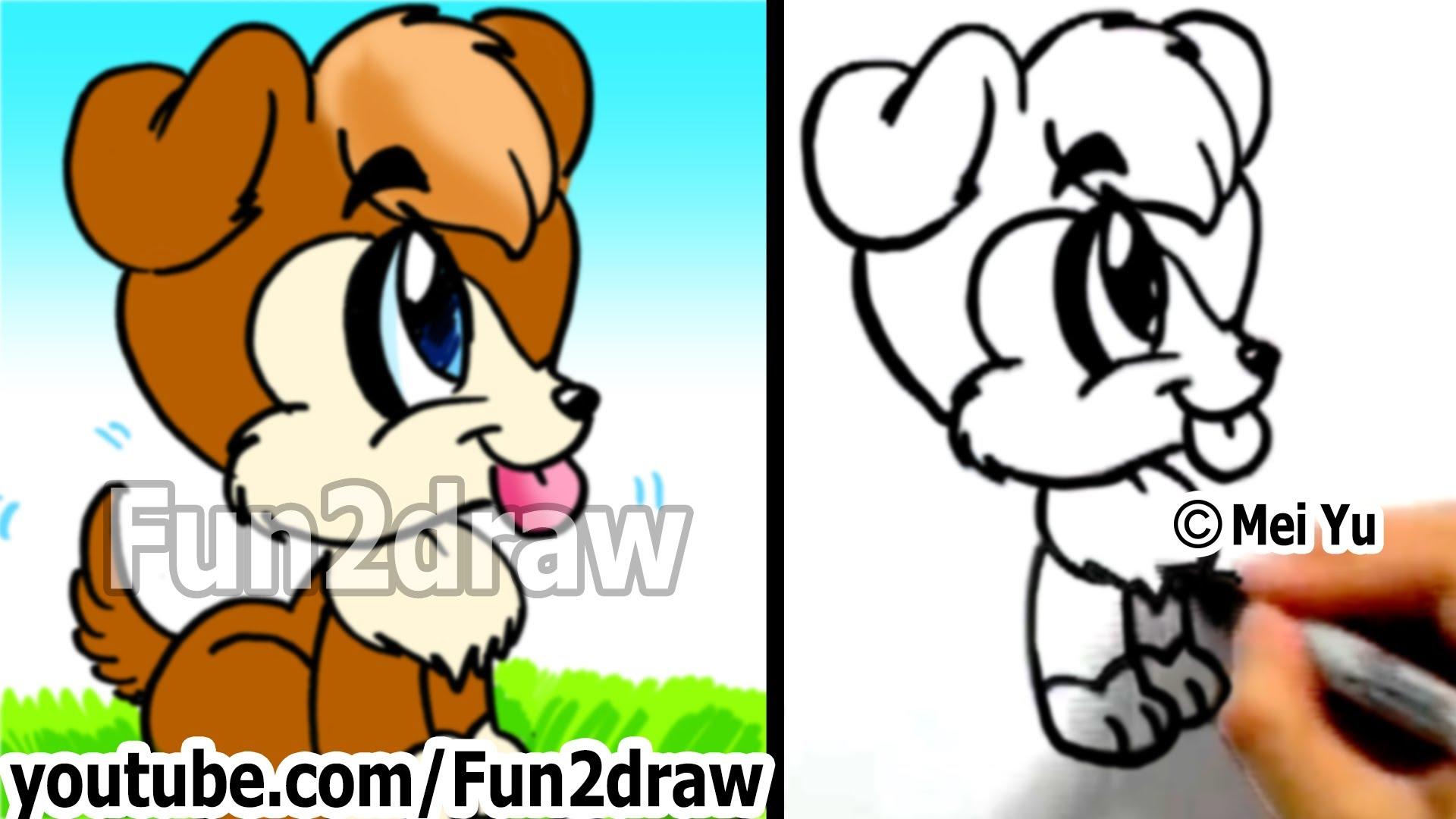 1920x1080 How To Draw A Cute Cartoon Dog Under 2 Min