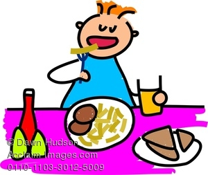 300x253 Clipart Image Of A Hungry Little Boy Eating Burger Chips
