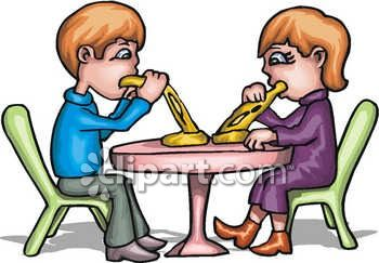 350x243 Kids Eating Pizza Clipart Image