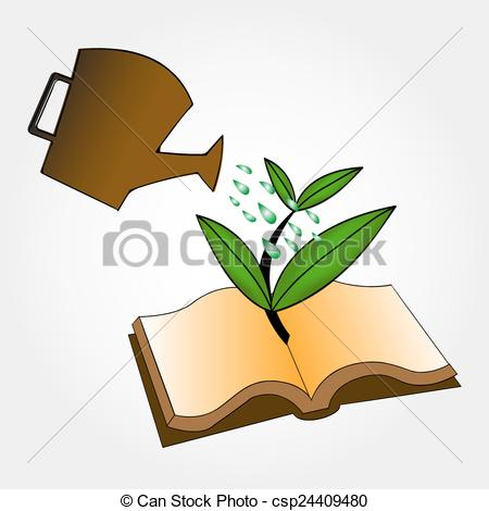 450x470 Ecology Concept. Books And Watering Pot Vector