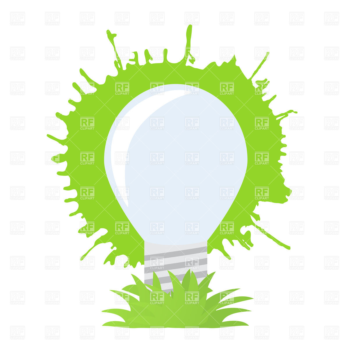 1200x1200 Ecology Light Bulb On Abstract Green Blot Royalty Free Vector Clip