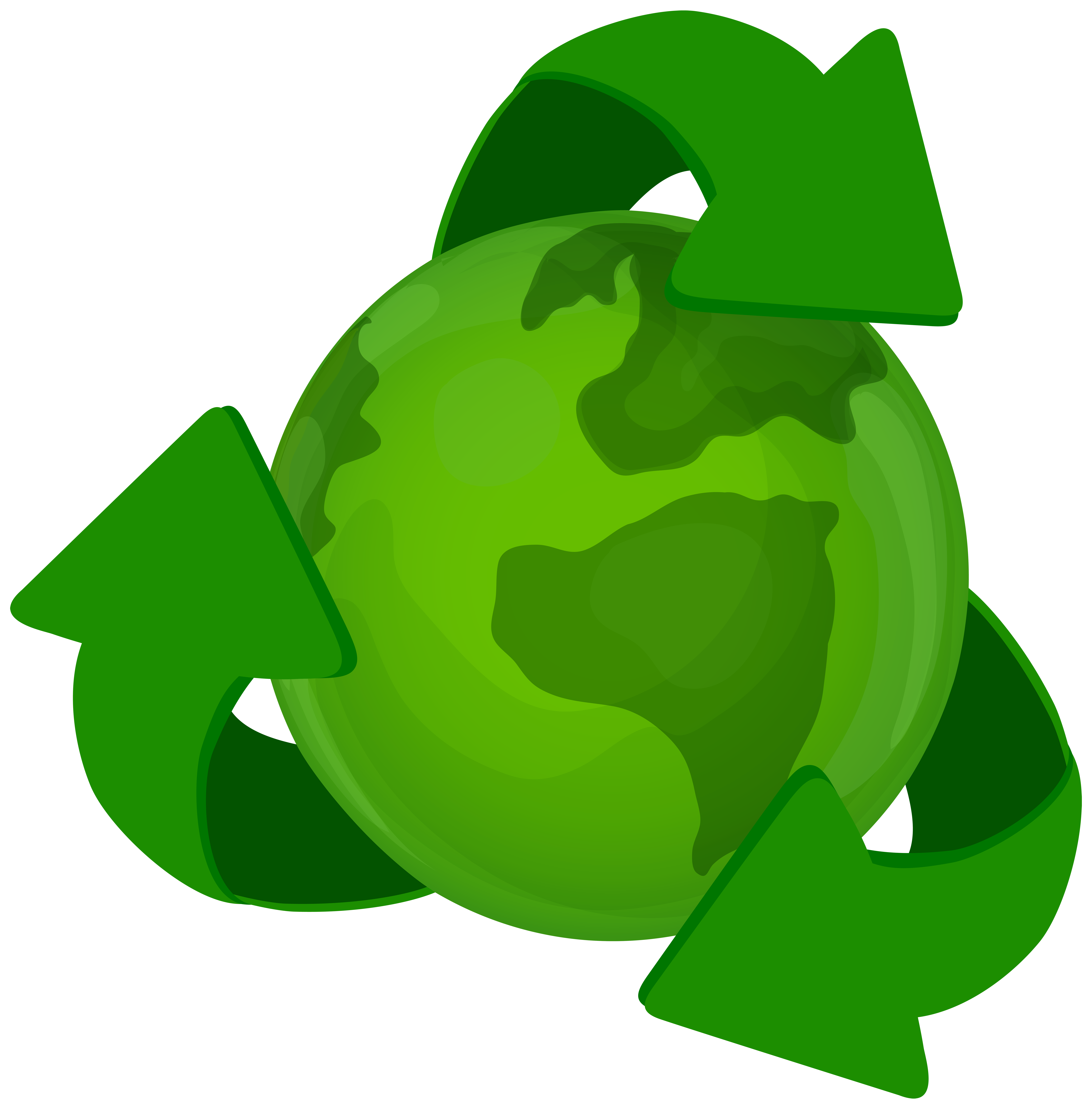 7879x8000 Green Earth Planet With Recycle Symbol Png Clip Art