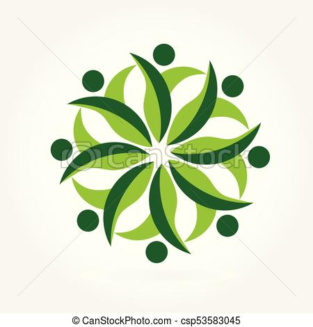 450x470 Logo Ecology Teamwork. Teamwork People Ecology Concept Logo Eps