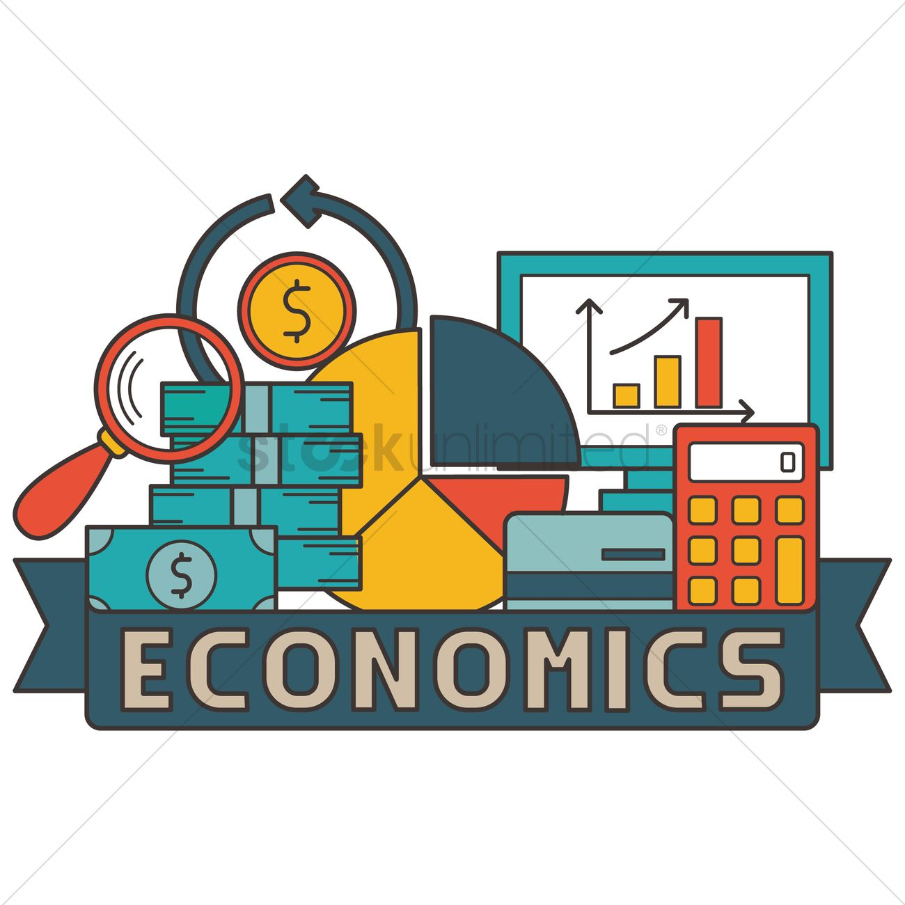 1300x1300 Economics Concept Design Vector Image