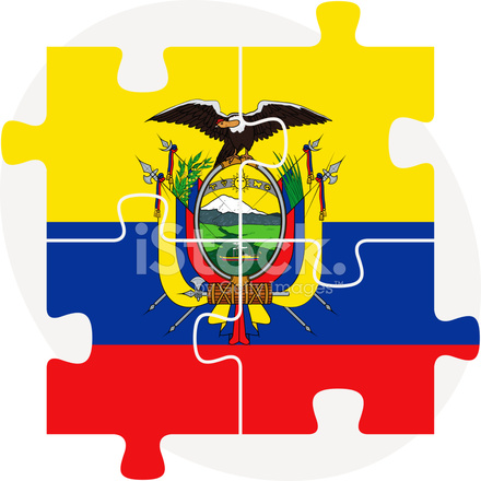 440x440 Ecuador Flag In Puzzle Stock Vector
