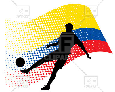 400x320 Silhouette Of Soccer Player Against Stylized Flag Of Ecuador