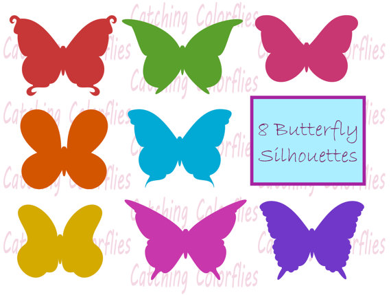 570x429 Butterfly Silhouette Clipart Clip Art, Instant Download Butterfly