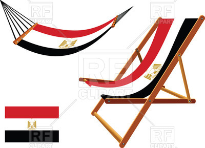 400x289 Egypt Flag Hammock And Deck Chair Royalty Free Vector Clip Art