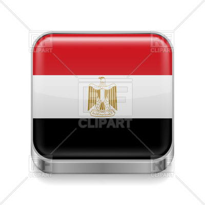 400x400 Square Metal Icon With Flag Of Egypt Royalty Free Vector Clip Art