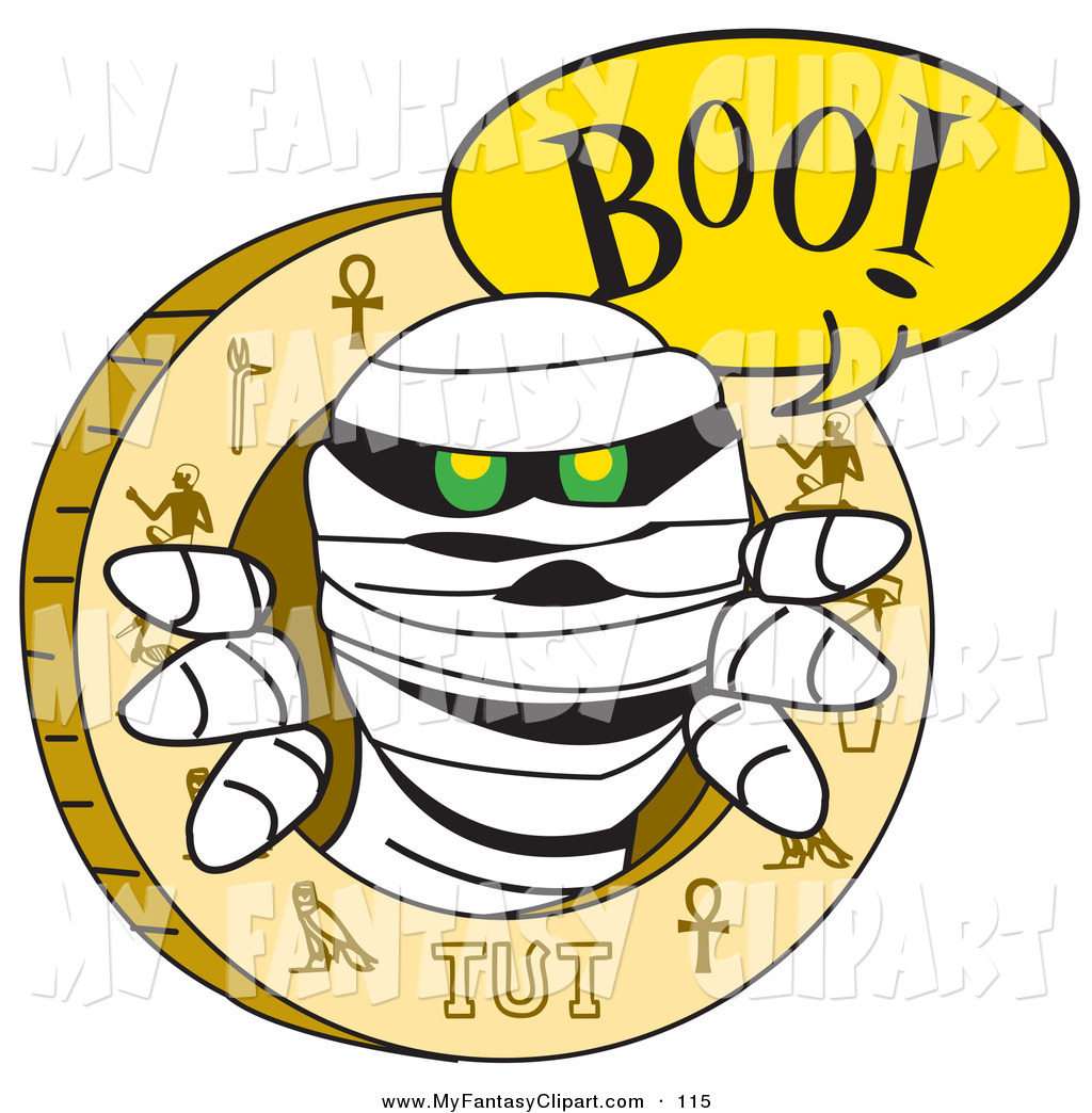 1024x1044 Clip Art Of A Scary Mummy Popping Out From An Egyptian Circle