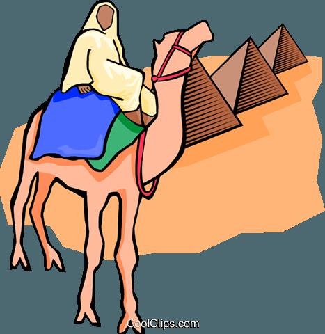 467x480 Egyptian On Camel, Pyramids Royalty Free Vector Clip Art