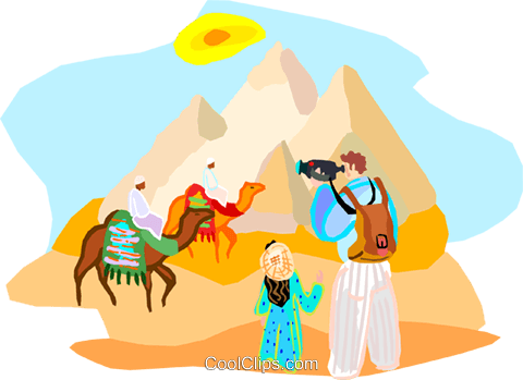 480x349 Tourists In Egypt By The Pyramids Royalty Free Vector Clip Art