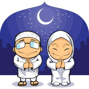 300x300 Vector Muslim Clip Art Man And Women Praying On Eid Al Adha Front