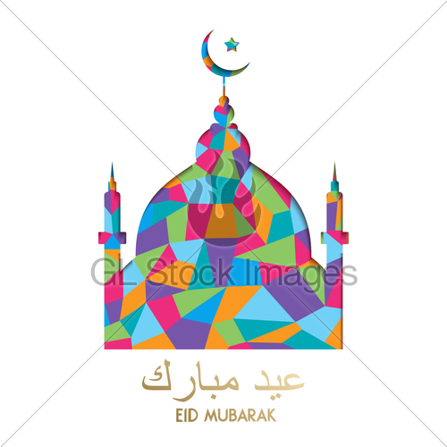500x500 Eid Mubarak Color Mosque Holiday Greeting Card Gl Stock Images