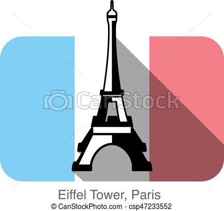 450x425 Eiffel Tower, Paris, Landmark Flat Icon Design, Background