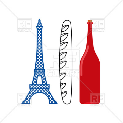 400x400 France Flag Of Eiffel Tower, Crisp Baguette And Bottle Of French