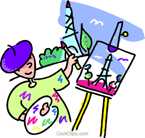 480x458 Artist Painting The Eiffel Tower Royalty Free Vector Clip Art
