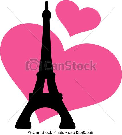 427x470 Eiffel Tower With Pink Hearts Clipart Vector
