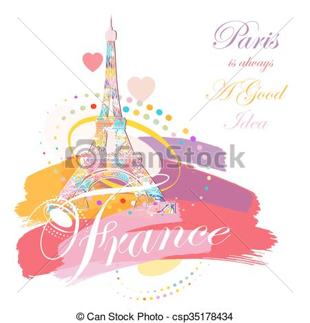 450x470 Romantic Background With Eiffel Tower, Vector Illustration Vectors