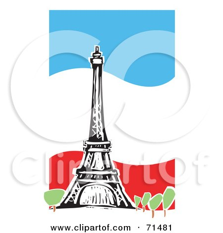 450x470 Royalty Free (Rf) Clipart Illustration Of The Eiffel Tower Over