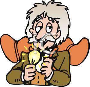 300x291 Einstein With A Lightbulb Clip Art Image
