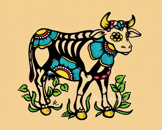 570x456 Day Of The Dead Cow Skeleton Dia De Los Muertos Art Print 5 X