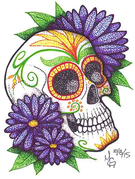 451x600 Happy Dia De Los Muertos Ink Pen Drawing Of Sugar Skull