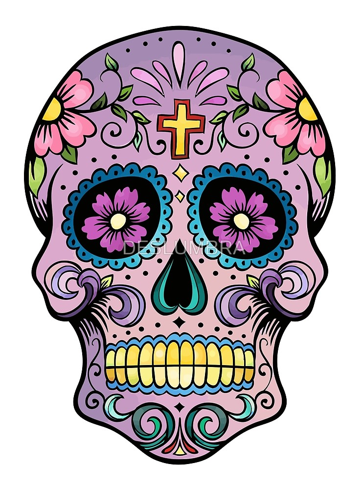 742x1000 Mexican Skull Purple Cross Art Tattoo Man Calavera Candy El Dia De