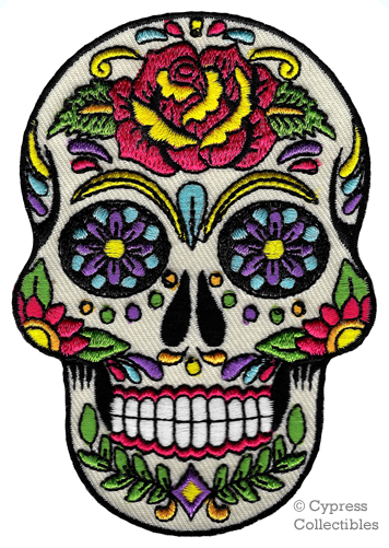 356x501 Sugar Skull Patch Iron On Embroidered Dia De Los Muertos Calavera