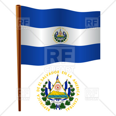 400x400 El Salvador Flag And Coat Of Arms Royalty Free Vector Clip Art
