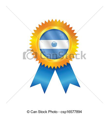 450x470 El Salvador Medal Flag. Gold Medal With The National Flag