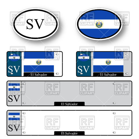 480x480 Template Of Car Plate Number With Flag Of El Salvador And Oval