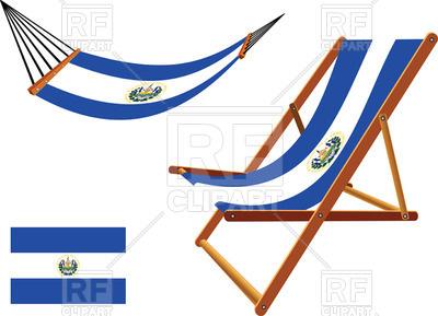 400x289 El Salvador Flag Hammock And Deck Chair Royalty Free Vector Clip