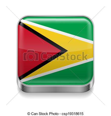 450x470 Metal Icon Of Guyana. Metal Square Icon With Guyanese Flag