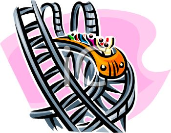 350x271 Royalty Free Clipart Image People Riding An Elaborate Roller Coaster